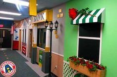 Main Street themed hallway for kid's church. Main Street themed hallway for kid's church. Kids Church Decor, Kids Church Rooms, Church Nursery, Kids Decor, Decoration Creche, Colegio Ideas, Daycare Design, Sunday School Rooms, Indoor Play Areas