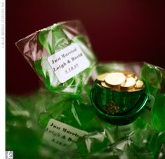 To tie into their Irish theme, Leigh and David gave shamrock lollipops to all their guests.