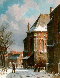 Adrianus Eversen (Amsterdam 1818-1897 Delft) A snow-covered street - Dutch Art Gallery Simonis and Buunk Ede, Netherlands.