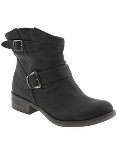 Leather ankle booties. Just ordered. Hope they work with my maternity pop-color skinnies.