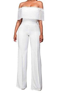 9eeda4395e7 Halfword Womens Sexy Off Shoulder High Waisted Long Wide Leg Jumpsuits  Rompers