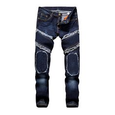 fd7424f1 Deep Blue Men Jeans 2017 New Style Beggar Pudding Jeans Men Fold Patch Straight  Slim Jeans Mens Brand Denim Trousers-in Jeans from Men's Clothing ...