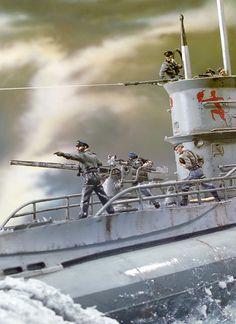 Artwork of a U Boat. Scale Model Ships, Scale Models, Military Diorama, Military Art, Boat Pics, German Submarines, Model Hobbies, Military Modelling, Battleship