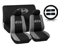 Amazon.com: Batman Gray Silver Logo on Black Car Seat Covers Marvel Comics Auto Interior Kit - 11pc Seat Covers Steering Wheel Shoulder Pads...