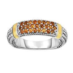 Sterling Silver Rhodium 18ct Yellow Gold - Size N 1/2 2-5mm Popcorn Center Bar Ring 1.5mm Rnd Citrin--134.85