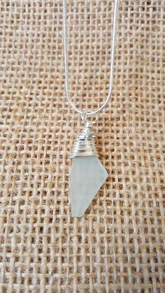 Wire wrapped sea glass pendant made by Hattie's Beach Hut, Perranporth, Cornwall
