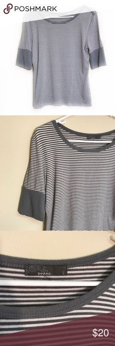 "PRANA striped half length sleeve top size large Very gently used condition PRANA gray and white striped top size large. No flaws! Sleeves are 1/2 length. Armpit to armpit 18"", length 22.5"". Check out the other PRANA items in my closet ✌️bundle and save! 💸 Prana Tops"