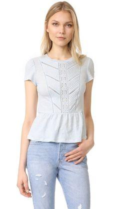 Rebecca Taylor Short Sleeve Linen Lace Tee