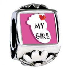 Heart My Girl Foot Pink Background Photo Flower Charms  Fit pandora,trollbeads,chamilia,biagi,soufeel and any customized bracelet/necklaces. #Jewelry #Fashion #Silver# handcraft #DIY #Accessory