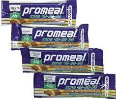 Barrette Promeal Zone 40-30-30 disponibili nei gusti: cacao, cocco, cereali, yogurt, caffè, cereali al cacao, menta e fragola.