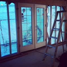 Replace garage door with french doors. Garage Renovation, Garage Remodel, Garage Makeover, Door Makeover, Kitchen Remodel, Garage Room, Garage Studio, Garage Office, Diy Garage Storage