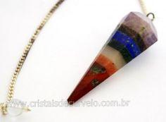 Pendulo Facetado 7 Chakras Pedra Natural P Radiestesia Brinde Corrente Saquinho Tecido