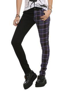 Royal Bones Split Leg Black And Purple Plaid Skinny Pants | Hot Topic