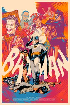 The '66 Batman variant poster featuring Adam West and Burt Ward as the Dynamic Duo with thugs at their feet and the Rogues Gallery above the...