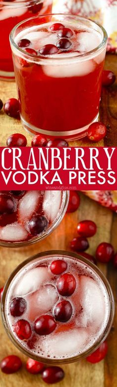 This Cranberry Vodka Press is the perfect light holiday cocktail! Just THREE ingredients!