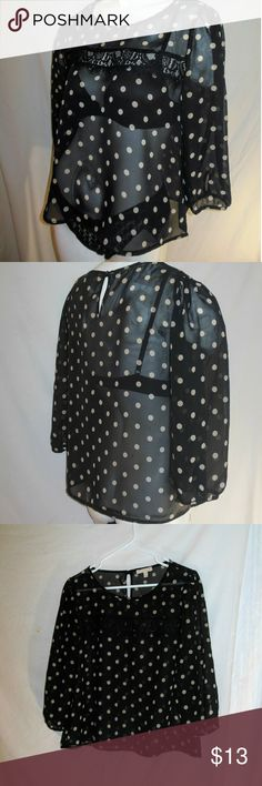 Beige Polka dots on Black Sheer Lace Blouse Sz L Up for your consideration here is a gently-used blouse made by Monteau in a size Large. This blouse features sheer black fabric with beige polka dots and a lacy panel up front. Please note that objects photographed with this blouse are not included Monteau Tops Blouses