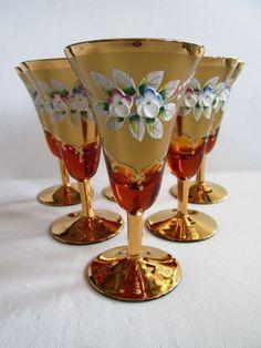 Skleničky na víno * amber sklo smaltované, ručně malované * Sklárna Slávia CZ.