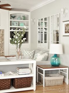 Centsational Girl home tour: I love her home - warm neutrals with blues, classic but modern and clean styles