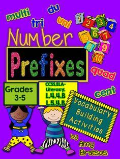 Number & Quantity Prefixes Vocabulary Activities by Amy Bratsos Vocabulary Activities, Teacher Resources, Learning Activities, Vocabulary Instruction, School Resources, Teaching Tools, Teaching Math, Creative Teaching, Teaching Ideas