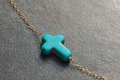 Turquoise Sideways Cross Necklace, Loving You. $38.00, via Etsy.