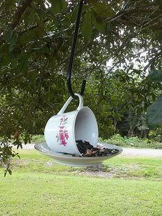 Teacup bird feeders.