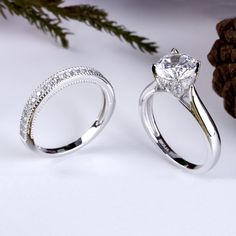 Genteel 14 Ct Engagement Ring 1ctw Cz Solitaire White Gold Ring Fine Rings Jewelry & Watches
