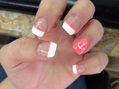 Super cute nail design with anchor and coral