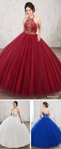 Mary's Quinceanera Style 4800 • Tulle halter quinceanera ball gown with jewel neck line, gold beading detail, natural waist line, back lace-up closure, and matching bolero.