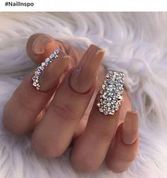 Uploaded by Aaliyah Kinniburgh. Find images and videos about nails, nail art and nail design on We Heart It - the app to get lost in what you love. Bling Acrylic Nails, Best Acrylic Nails, Rhinestone Nails, Bling Nails, Swag Nails, Bling Nail Art, Diamante Nails, Grunge Nails, Dimond Nails