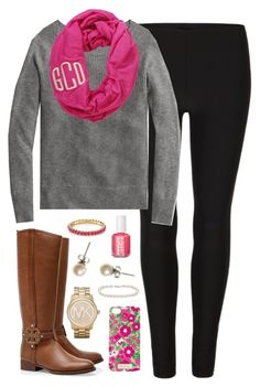 """""""Monogrammed"""" by classically-preppy ❤ liked on Polyvore featuring AllSaints, Tory Burch, Michael Kors, Blue Nile, Essie, J.Crew and Lilly Pulitzer"""