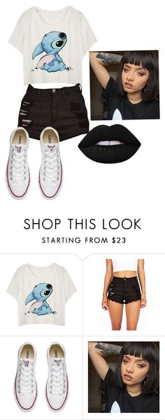 """""""Random Outfit"""" by ebonyadelle2 on Polyvore featuring Converse and Lime Crime"""