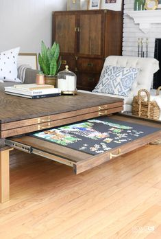 Coffee Table with Puzzle Pullout #table #woodworking
