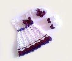 Baby-Kleid, Stirnband und Booties in weiß lila, von Diana shop auf DaWanda.com