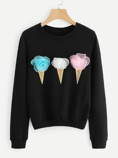 To find out about the Ice Cream Detail Sweatshirt at SHEIN, part of our latest Sweatshirts ready to shop online today! Tween Fashion, Diy Fashion, Fashion Outfits, Sweatshirt Outfit, Tween Mode, Pullover, Direct To Garment Printer, Diy Clothes, Shirt Designs