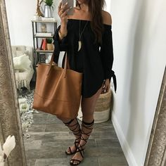 Long sleeve, off the shoulder tunic for all of your summer adventures. Available in Black and White. shop the look: TOTE BAG + GLADIATORS