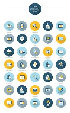 Free Icons: 35 Useful Flat Marketing and SEO Services Icons