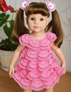 Image gallery – Page 644155552930261220 – Artofit Crochet Doll Clothes, Knitted Dolls, Doll Clothes Patterns, Pink Toddler Dress, Baby Dress, Dress Set, Crochet Daisy, Crochet Girls, Gilet Crochet