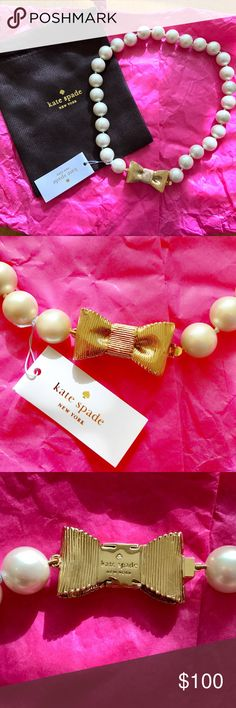 """NWT Kate Spade Pearl Bow Necklace Kate Spade short glass pearl necklace. The glistening glass pearls and textured gold bow add such a great twist to a classic pearl necklace 🎀. 12k gold-plated metal/glass. Glass pearl size: 14mm. Tongue-and-groove closure. Approx length: 18"""". Please let me know if you have any questions! kate spade Jewelry Necklaces"""
