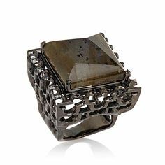 Millie Square Pyramid-Cut Labradorite Statement Ring $370 size 6 or 7