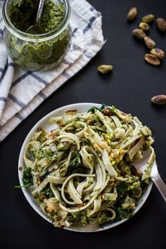 Pistachio Rosemary Pesto with Power Greens by edibleperspective #Pasta #Pesto #Pistachio #Rosemary #Spinach #Chard #Kale