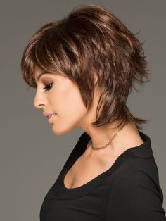 his cutting edge hair style has gorgeous layers and a long wispy nape for texture & easy styling Short Shag Hairstyles, Girls Short Haircuts, Short Hairstyles For Women, Trendy Hairstyles, Shaggy Haircuts, Fashion Hairstyles, Hairstyles 2018, Layered Haircuts, Short Hair Styles Easy