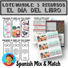 ACTIVIDADES LECTURA / DÍA DEL LIBRO (LOTE/BUNDLE) by SPANISH MIX AND MATCH   Teachers Pay Teachers High School Spanish, Spanish Teacher, Teaching French, Teaching Spanish, Learning Resources, Teacher Resources, Spanish Lessons, Teaching Materials, French Language