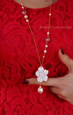 SPRING Necklace, authentic shell cameo and baroque pearl with by MelaniaGoriniJewelry