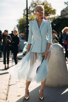 Blue blazer sheer blue skirt The Best Street Style Of Paris Fashion Week ellemag Black Women Fashion, Blue Fashion, Look Fashion, Paris Fashion, Trendy Fashion, Fashion Outfits, Fashion Trends, Womens Fashion, Feminine Fashion