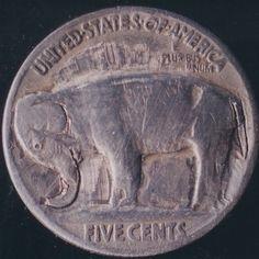 John Dorusa - Elephant - Coin: 1935-P (AG) World Coins, Banks, Folk Art, Elephant, Owl, Carving, King, Purses, Animal