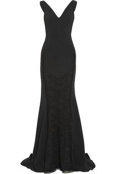 Antonio Berardi Lace-paneled stretch-crepe gown | THE OUTNET
