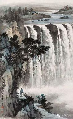Asian Landscape, Chinese Landscape Painting, Japanese Painting, Chinese Painting, Japanese Art, Landscape Paintings, Waterfall Paintings, Tinta China, Mountain Paintings