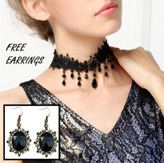Romantic Black Lace Choker Necklace Gothic Choker by FairybyFoxie Chocker Necklace, Collar Necklace, Victorian Jewelry, Gothic Jewelry, Black Lace Choker, Gothic Chokers, Bracelets, Necklaces, Bangles