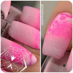 """""""Macros from my previous manicure: @opi_products Mod About You stamped with @mundodeunas Pastel Pink, Mexican Pink and Purple plus @essence_cosmetics white…"""""""