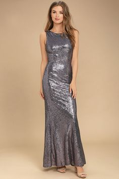 Shimmer with every step you take in the Slink and Wink Dusty Purple Sequin Maxi Dress! A rounded neckline and sexy cowl back top a darted, sleeveless bodice. Small, shiny sequins travel gracefully down a straight-cut maxi skirt. Hidden side zipper with clasp.